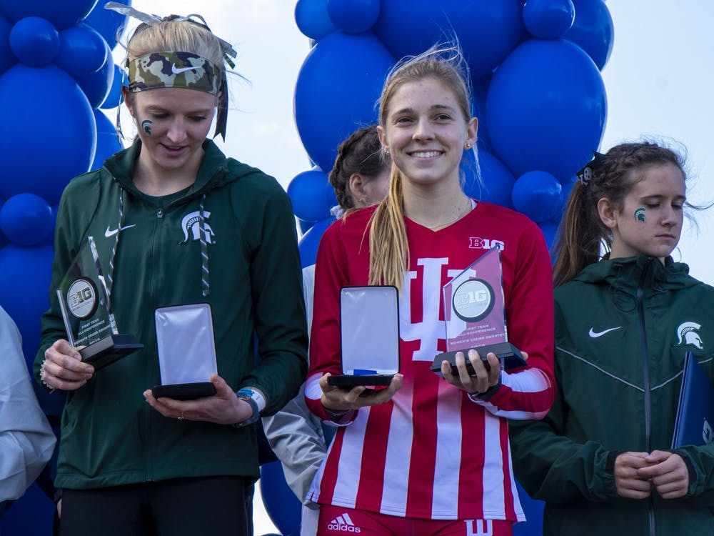 IU sophomore Bailey Hertenstein holds her second place trophy Nov. 3 at the Big Ten Championship at Ohio State University Golf Club in Columbus, Ohio. The Hoosiers' season concluded in Terre Haute, Indiana, where both men's and women's teams raced for the National Championship.