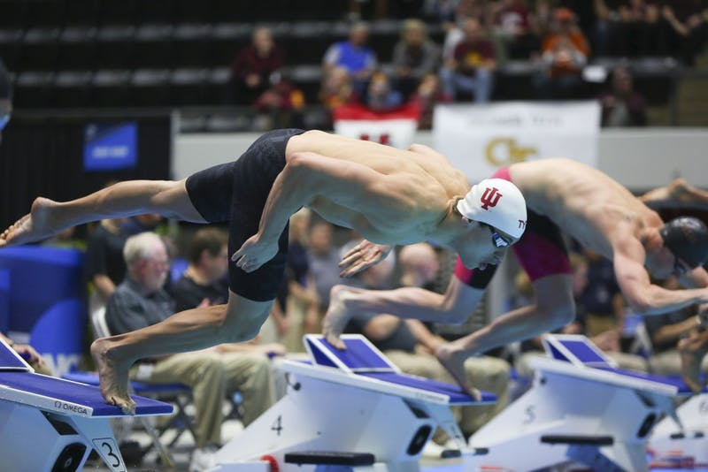 Then-junior Blake Pieroni competes in the 200-yard freestyle March 25, 2017, during the 2017 Swimming and Diving Championships at the IU-Purdue University Indianapolis Natatorium. IU competed against Michigan on Jan. 17 and won 173.5-126.5.