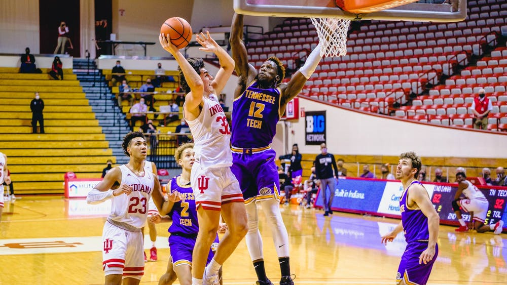 Freshman guard Trey Galloway gets past the Tennessee Tech defense and scores Nov. 25 at Simon Skjodt Assembly Hall. Galloway scored 13 points in the victory over Tennessee Tech.