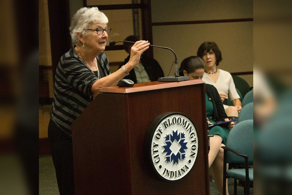 <p>Charlotte Zietlow, the founder of the Bloomington Commission on the Status of Women, speaks on the commission&#x27;s 40th anniversary in 2014 at Bloomington City Hall. Zietlow is featured in the Monroe County History Museum&#x27;s new exhibit  &quot;See Her Run: Monroe County Women in Politics.&quot;</p>