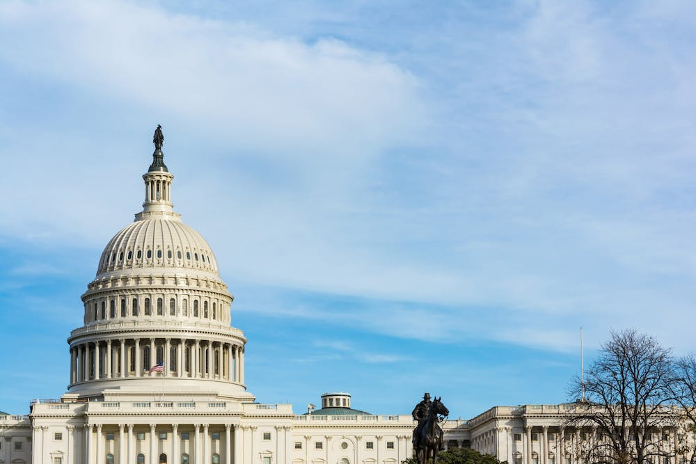 <p>Capitol Hill is seen July 27in Washington, D.C. A congressman from Indiana, Jim Banks, R-3rd District, proposed a bill Aug. 28 that would prevent individuals convicted of a federal crime during a protest from receiving federal unemployment aid during the coronavirus pandemic. </p>