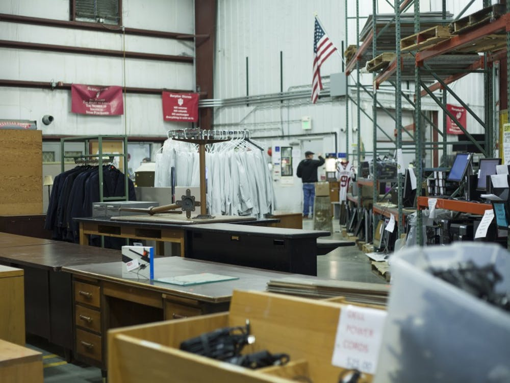 Many different items are for sale at the IU Surplus Store. The surplus store offers things from desks to athletic shoes.