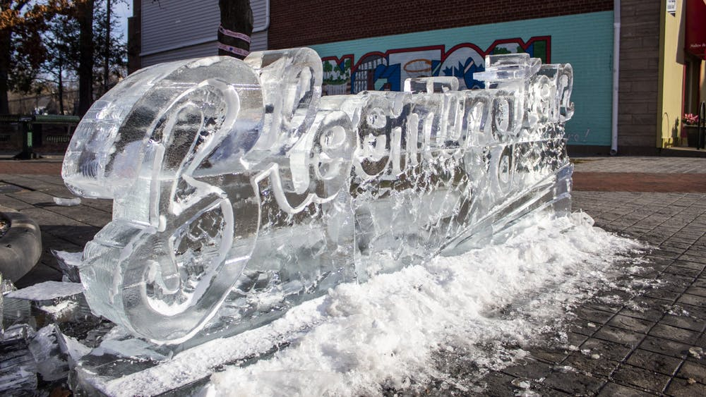 A sculpture from Freezefest is seen Jan. 9 in People's Park outside  the Sample Gates. Freezefest will take place Jan. 7-11.