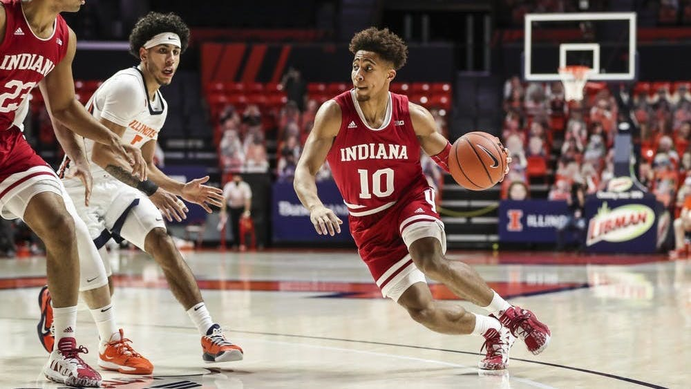 IU junior guard Rob Phinisee dribbles the ball Dec. 26, 2020, at the State Farm Center in Champaign, Illinois. The Hoosiers will play the Minnesota Golden Gophers on Wednesday in Bloomington.