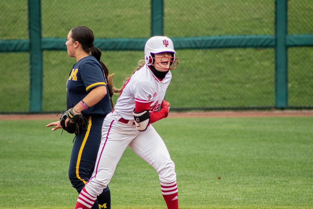 <p>Outfielder Gabbi Jenkins celebrates getting on base against Michigan on March 26 at Andy Mohr Field. Jenkins set IU softball&#x27;s career stolen bases record with her 91st against Purdue on April 9 in West Lafayette, Indiana.</p>