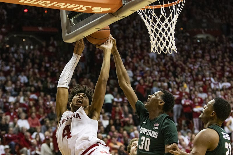 Freshman forward Trayce Jackson-Davis shoots the ball in the second half against Michigan State on Jan. 23 in Simon Skjodt Assembly Hall. Jackson-Davis scored 12 of IU's 67 points.