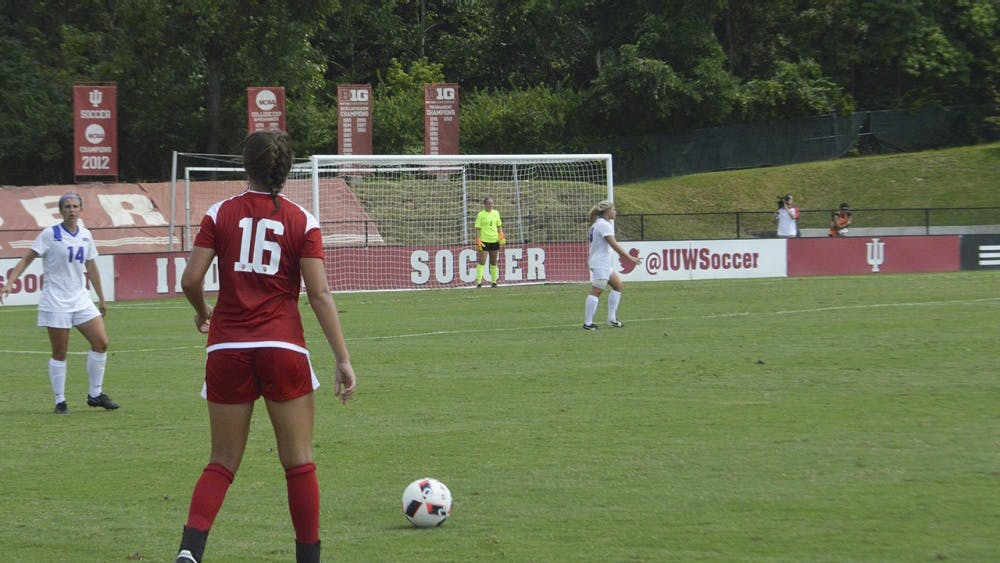 Kylie Kirk prepares for a penalty kick during the Hoosiers match against Southern Methodist University on Sep. 5 at Bill ARmstrong Stadium. SMU won the match 2-to-1.