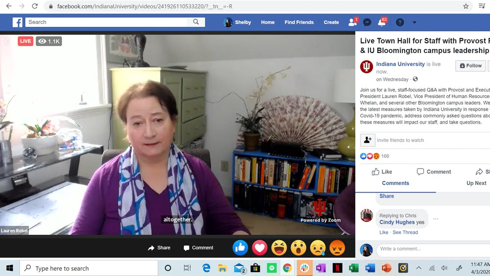 Provost Lauren Robel speaks during a Facebook Live event April 4. Robel and other university leaders answered questions about university staff and employment during the event.