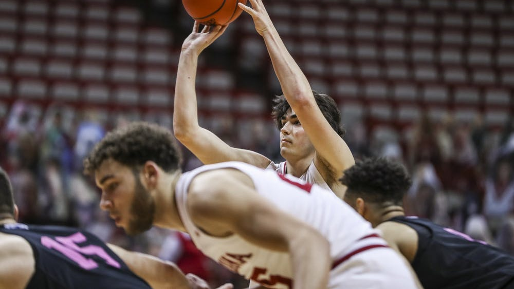 Freshman guard Trey Galloway shoots a free throw Dec. 30 at Simon Skjodt Assembly Hall. The Hoosiers beat the Nittany Lions 87-85 in overtime.