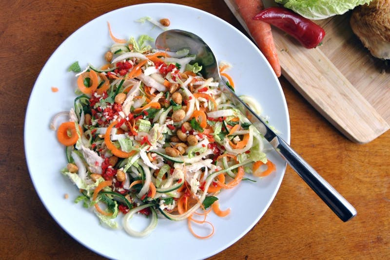 Pictured is a gluten-free chicken noodle salad.