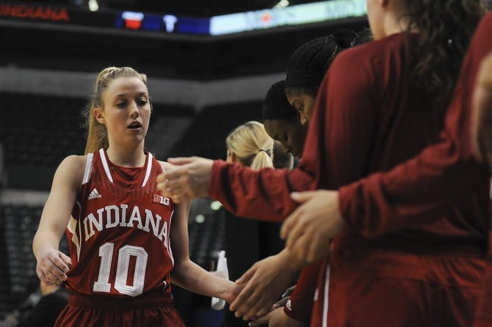 <p>Then-freshman Taylor Agler heads to the bench after fouling out during the game against Michigan on March 7,2013at Bankers Life Fieldhouse in Indianapolis. Agler announced Tuesday via her Instagram account that she was leaving IU.</p>