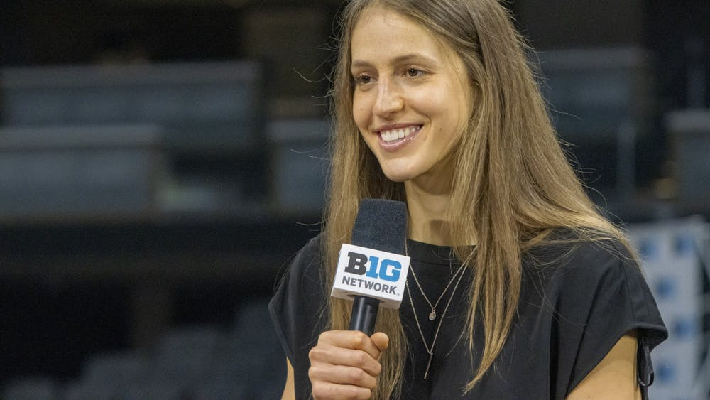 Graduate student guard Ali Patberg smiles during her panel on Oct. 8, 2021, at the Big Ten Basketball Media Days at Gainbridge Fieldhouse in Indianapolis. Patberg made an appearance at the event and talked with reporters.