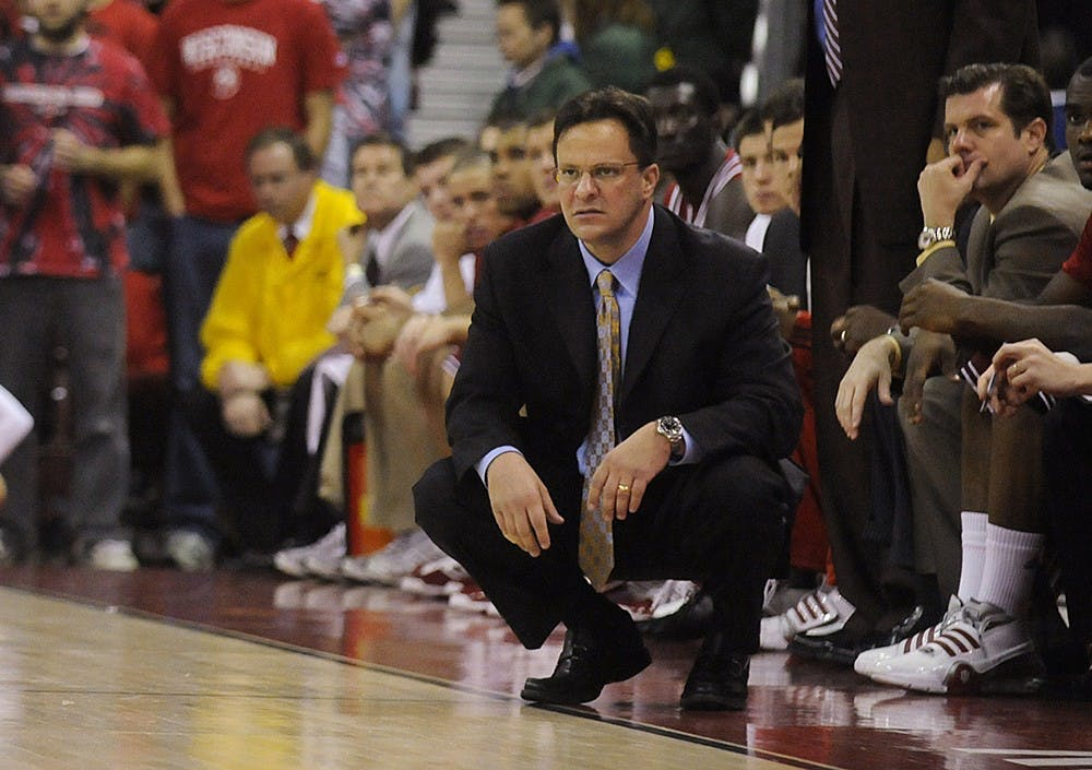IU coach Tom Crean watches the action from the sidelines during a game March 8, 2009, at the Kohl Center in Madison, Wisc.