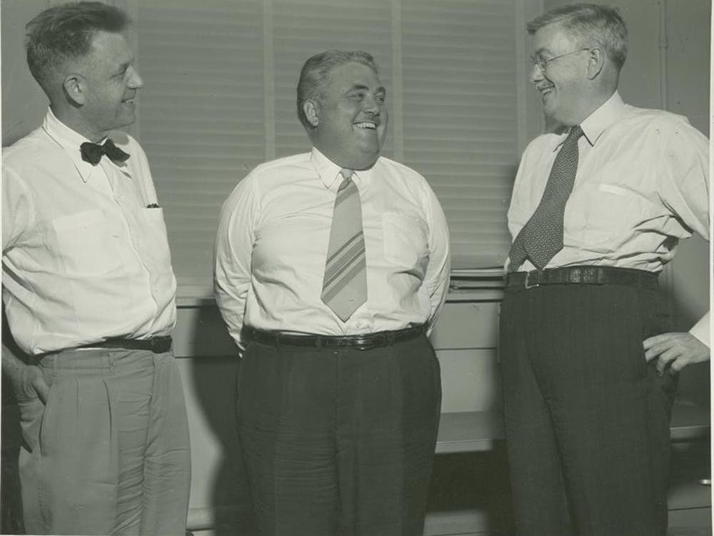 Researcher Alfred Kinsey, then-president Herman B Wells and George Corner, from the Carnegie Institute, meet in August 1951. Wells was a strong supporter of Kinsey's controversial research on sexual behavior, and took steps to protect his academic freedom.