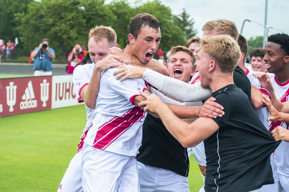 <p>The soccer team celebrates then-sophomore Jack Maher's game-winning double overtime goal against University of California at Los Angeles on Sep. 2, 2019, at Bill Armstrong Stadium. IU men&#x27;s soccer plays Ohio State at 2 p.m. Tuesday.</p>