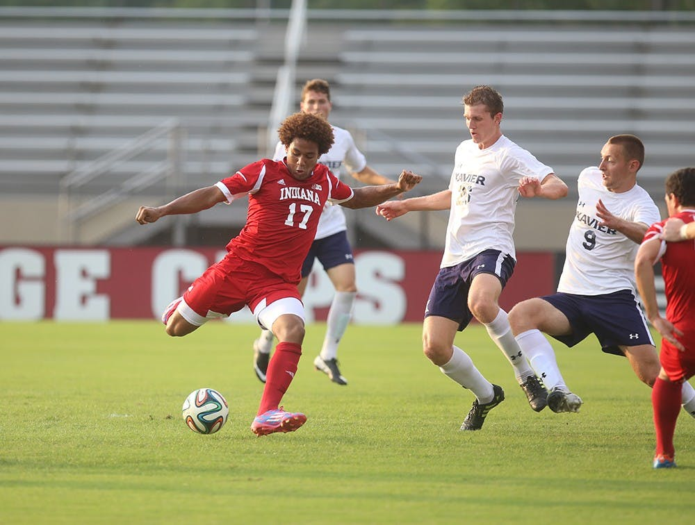 Freshman Jay McIntosh passes to a teammate during a game against Xavier on Tuesday night. The Hoosiers went on to lose 1-0.