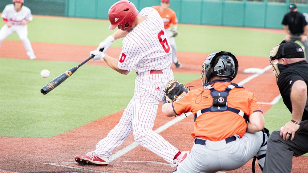 Sophomore Outfielder Grant Richardson swings at a pitch against Illinois on April 9. IU had one player named First-Team All-Big Ten, while two were named Second-Team All-Big Ten.
