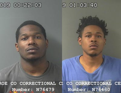 Jamarius Turnage, 25, and Cleodis Collins, 24, were arrested Thursday night after shooting and injuring one man and killing another. The shooting took place during a robbery at Knights Landing apartments on North Walnut Street.