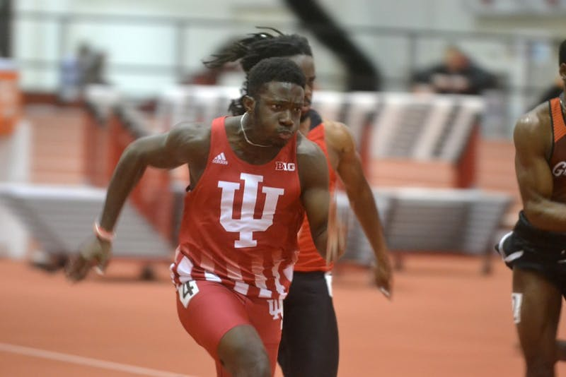 Redshirt freshman Rikkoi Brathwaite starts from the blocks in the 60-meter dash Feb. 8 at the Hoosier Hills Invitational at Gladstein Fieldhouse. IU will compete in the Cardinal Classic in Stanford, California.