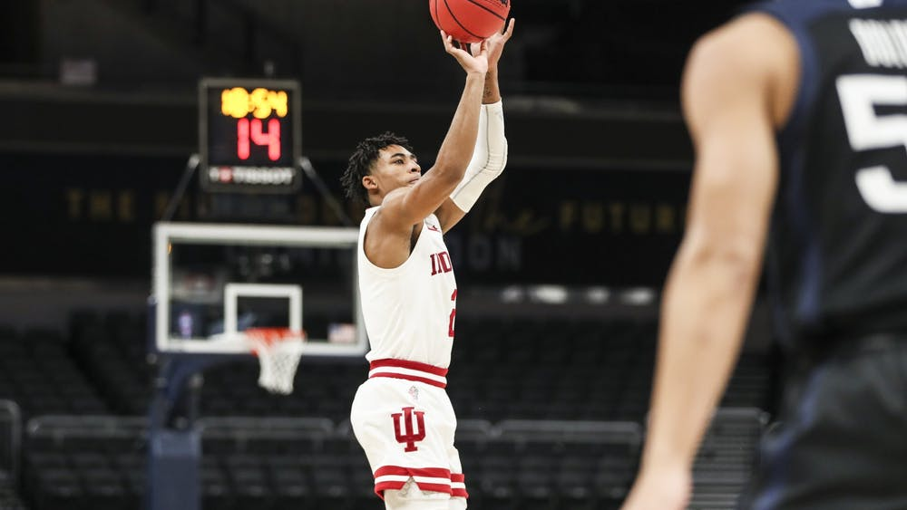 Sophomore guard Armaan Franklin takes a shot Dec. 19 during the game against Butler University at Bankers Life Fieldhouse in Indianapolis. Franklin scored 20 points in the 68-60 victory over the Bulldogs.
