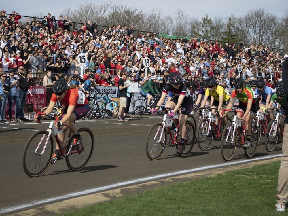 Riders compete in the 2019 women's Little 500 race at Bill Armstrong Stadium. The riders biked 100 laps to the sounds of a raucous, supportive crowd.