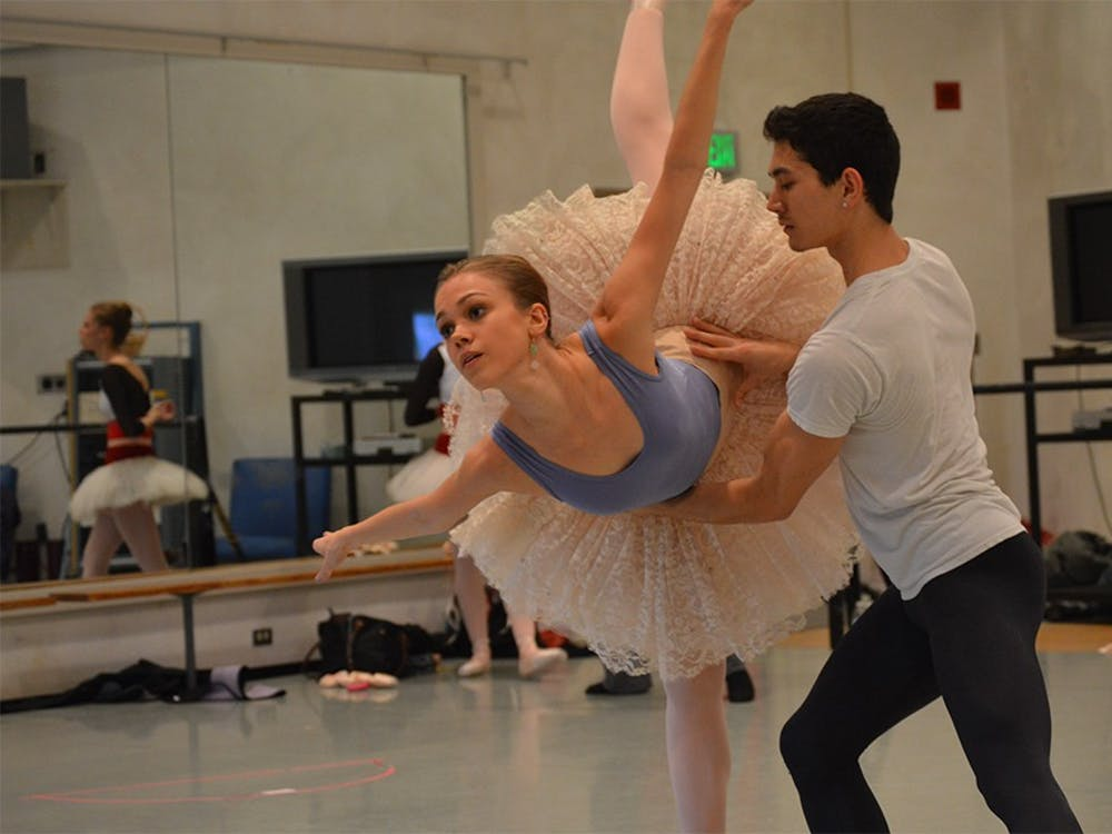 "Cara Hansvick and her partner, Andrew Copeland, rehearse for IU Opera & Ballet Theater's ""The Nutcracker"" ballet. The opening performance of ""The Nutcracker"" will be at 7:30 p.m. Dec. 3 in the Musical Arts Center."