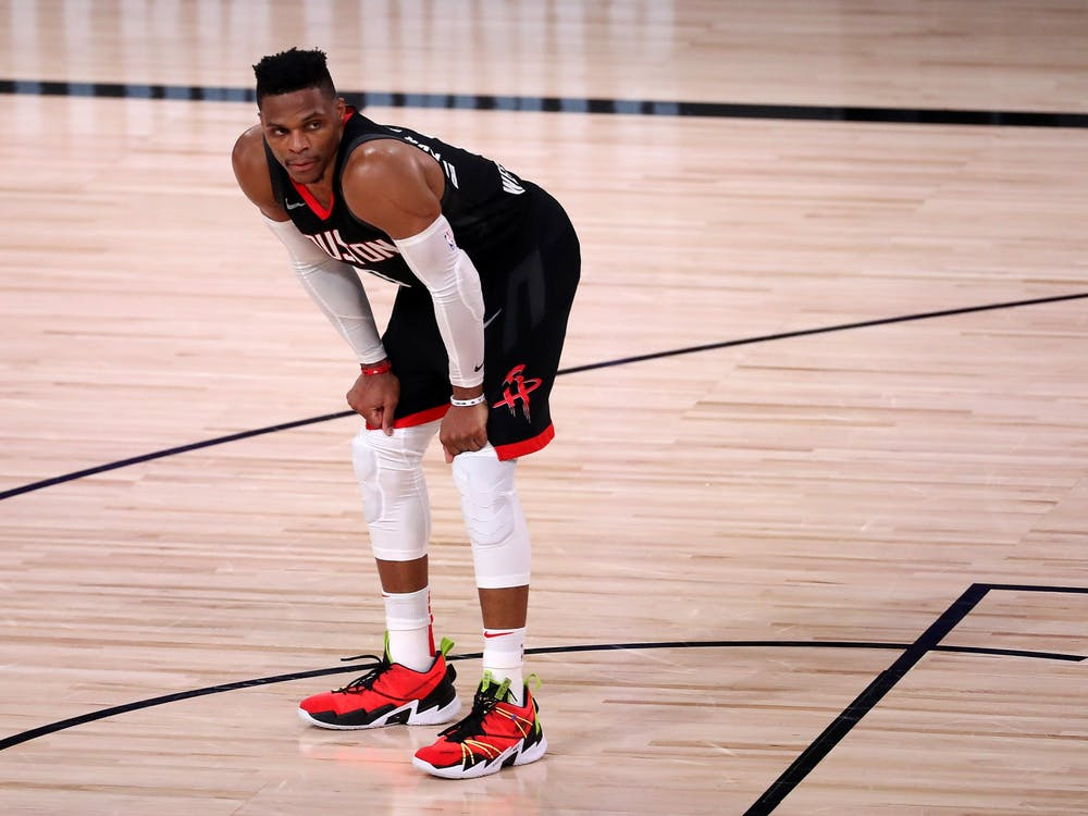 Houston Rockets star Russell Westbrook takes a breath during the fourth quarter against the Los Angeles Lakers in game five of the Western Conference Second Round of the 2020 NBA Playoffs on Saturday in Lake Buena Vista, Florida. The Lakers won the playoff series 4-1 to advance to the Western Conference Finals.