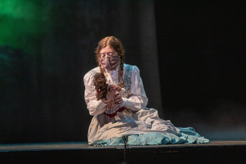 <p>Rose Stroup performs onstage Wednesday at the Musical Arts Center during rehearsal for &quot;The Turn of the Screw.&quot; Live performances of the musical will be broadcast digitally on April 2 and 3.</p>
