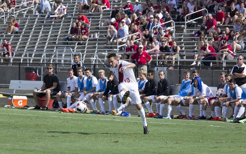 Indiana's Tanner Thompson sends in a free kick for the Hoosiers in Sunday afternoon's scoreless Big Ten match up against Northwestern.