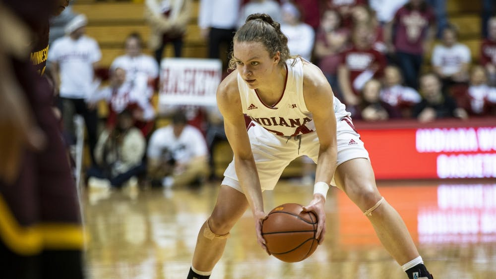 Then-sophomore Grace Berger watches the Minnesota defense Jan. 27, 2020, in Simon Skjodt Assembly Hall. Berger finished with a triple-double in IU's 85-64 win against Penn State on Jan. 7 at the Bryce Jordan Center in University Park, Pennsylvania.
