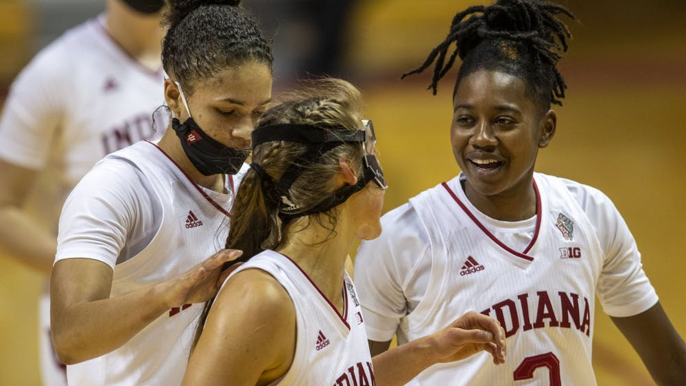 Senior guard Keyanna Warthen and senior guard Ali Patberg are all smiles Dec. 20 at Simon Skjodt Assembly Hall in their victory over Nebraska. The Hoosiers are 4-1 in Big Ten play for the 2020-21 season after an 85-64 win over Penn State on Jan. 7 at the Bryce Jordan Center in University Park, Pennsylvania.