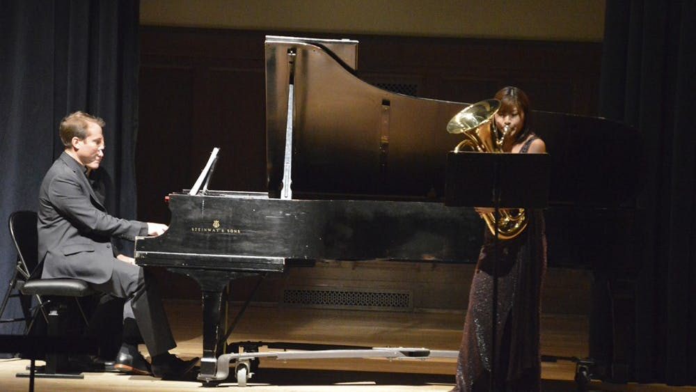 As part of Octubafest at IU Jacobs School of Music euphonium player Misa Mead and piano player Alexei Ulitin perform at Recital Hall Tuesday evening.
