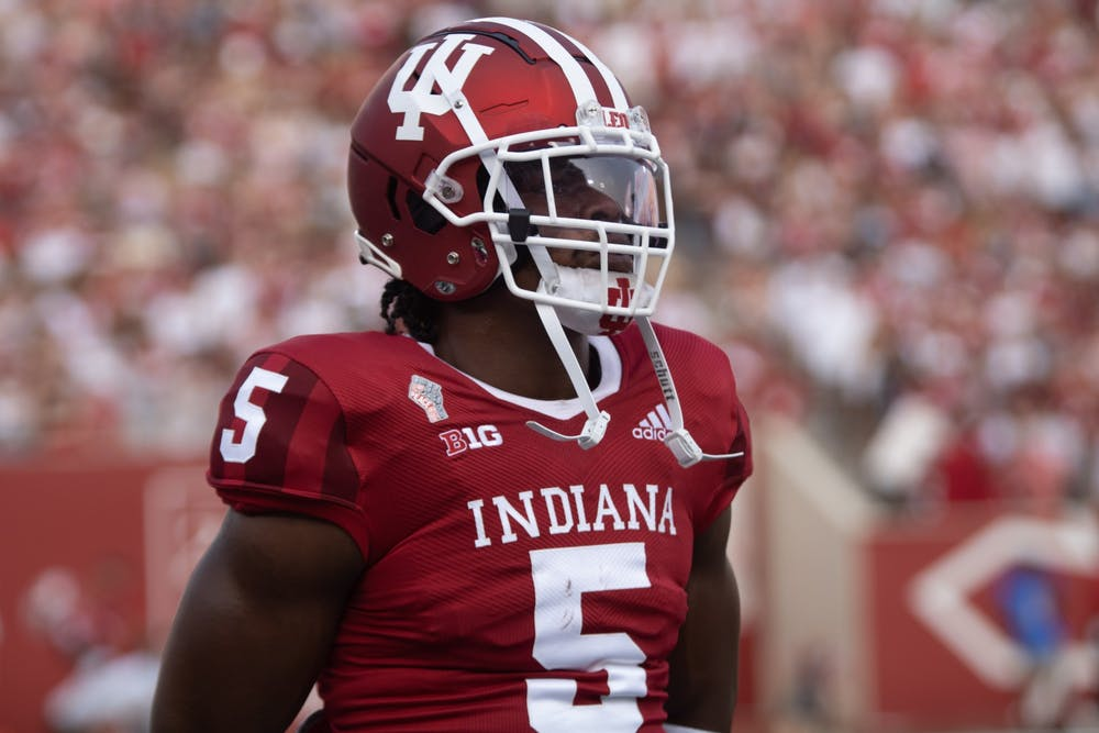 <p>Graduate student Stephen Carr warms up prior to facing Idaho on Sept. 11, 2021, at Memorial Stadium. Carr rushed for 118 yards on 22 attempts against Idaho. </p>