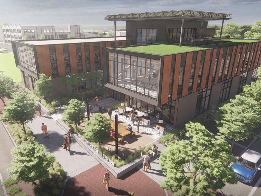 A picture of an artist's rendering of the Trades District Technology Center. Bloomington will construct a new technology center projected to open in 2024, which is funded in part by a U.S. Department of Commerce grant.