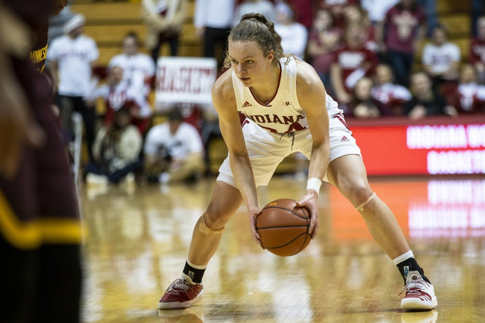 <p>Then-sophomore guard Grace Berger plays offense Jan. 27, 2020, in Simon Skjodt Assembly Hall. Berger is the only player in the country with two triple-doubles recorded during the 2020-21 season. </p>