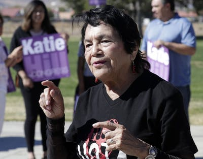 Latina civil rights activist Dolores Huerta speaks at a campaign rally in Oct. 20, 2018, at William J. McAdam Park in Palmdalem, California. Huerta will be speaking Thursday night in Franklin Hall.