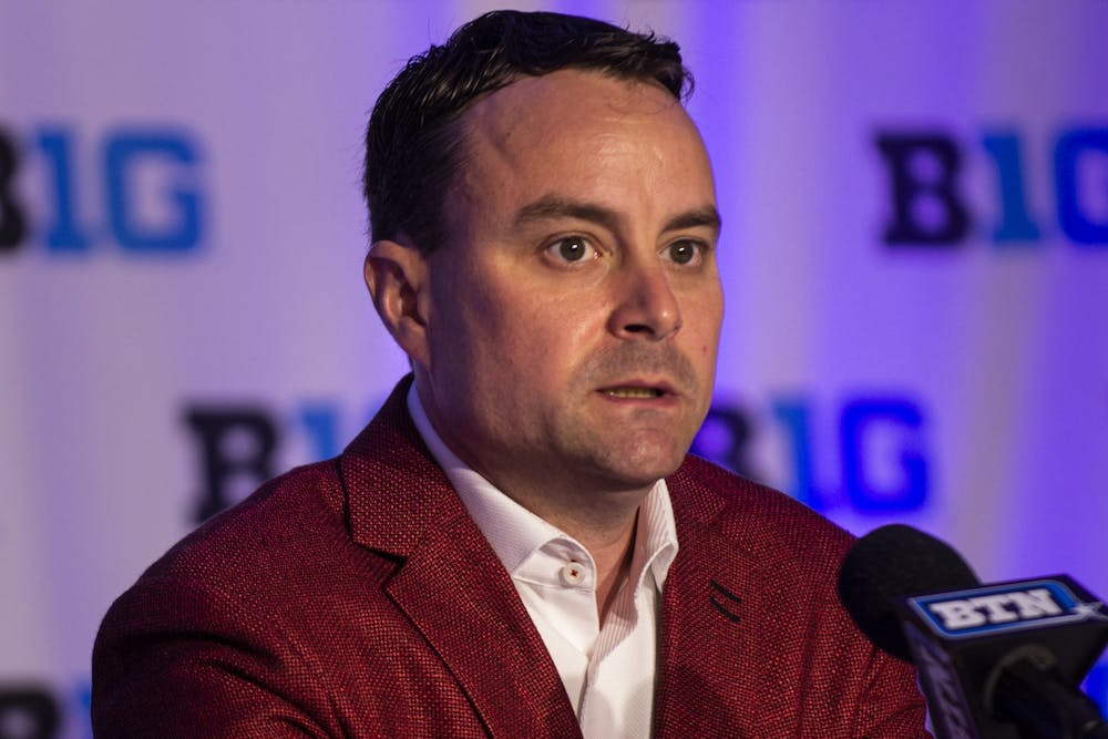 <p>IU men&#x27;s basketball head coach Archie Miller speaks Oct. 2, 2019, at Big Ten Basketball Media Day in Rosemont, Illinois. Miller was the head coach from 2017 to 2021.</p>