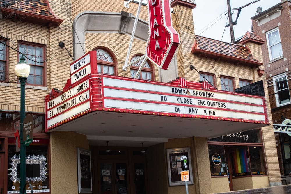 <p>The Buskirk-Chumley Theater marquee has been vandalized.</p>
