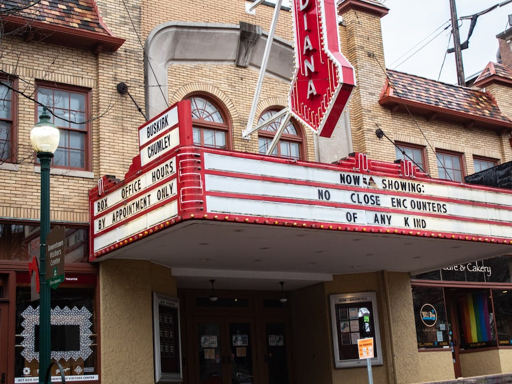 The Buskirk-Chumley Theater marquee has been vandalized.