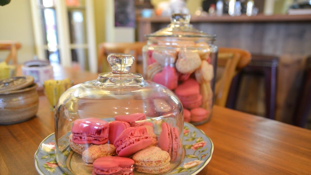 La Vie en Rose Patisserie and Cafe has heart-shaped macarons for Valentine's Day.