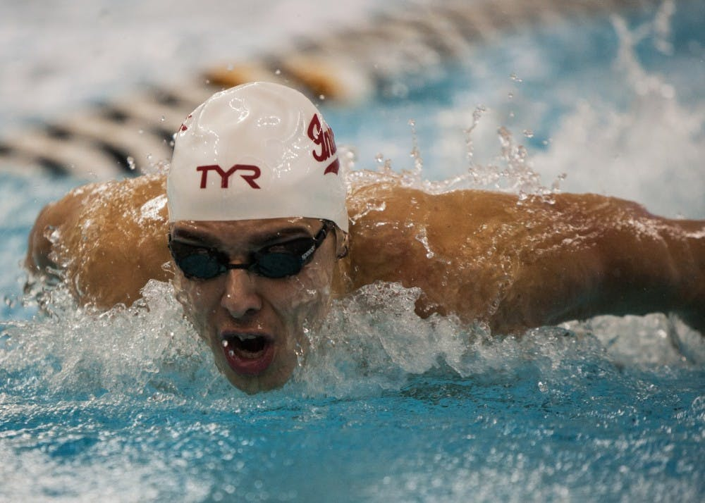 <p>Then-freshman butterfly swimmer Vinicius Lanza, now a senior, competes during the 200-yard butterfly in 2016 at the Boilermaker Aquatic Center.</p>