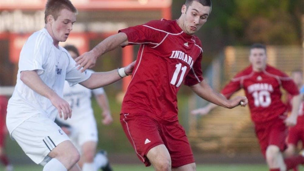 Sophomore forward Will Bruin dribbles into the Cincinnati 18-yard box in the first half of IU's 1-1 draw against the Bearcats Friday at Bill Armstrong Stadium.
