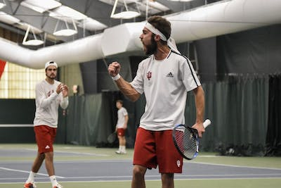 Then junior Antonio Cembellin, now a senior, celebrates after winning a point during his 1-6, 6-3, 4-6 loss to Wisconsin on April 8, 2018, at the IU Tennis Center.