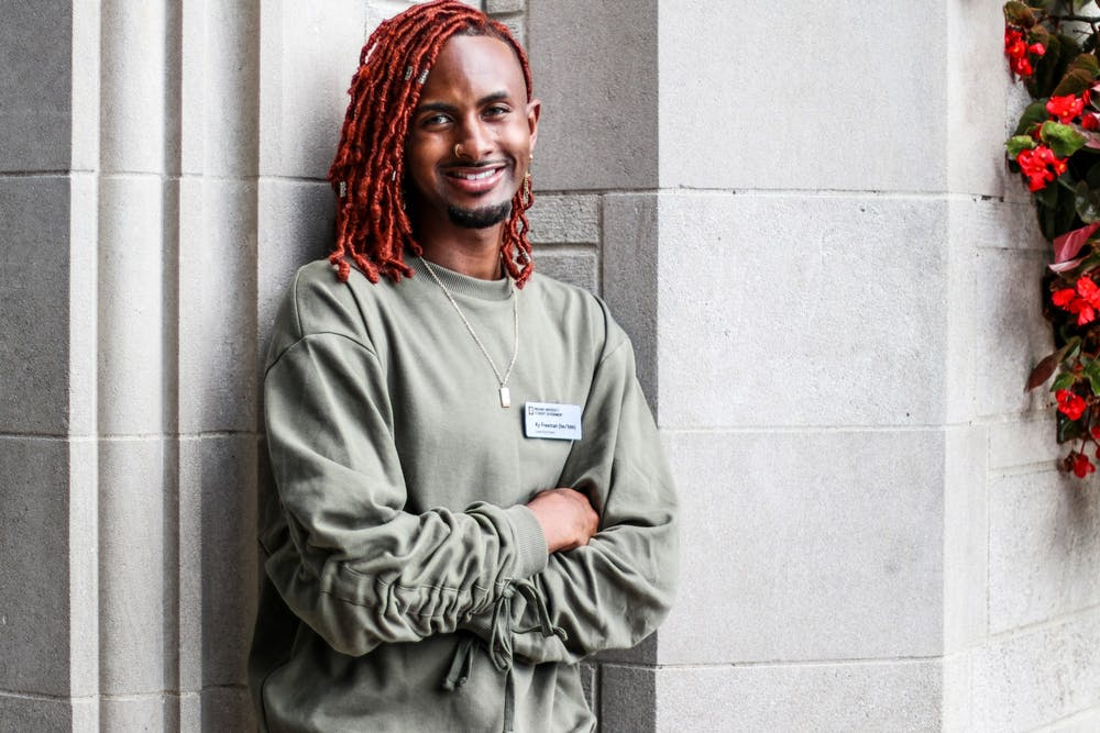 <p>IU Student Government President Ky Freeman poses for a portrait Sept. 9, 2021, in front of the Sample Gates. Freeman was elected as student body president in May 2021 alongside vice president candidate Madeline Dederichs on the Elevate ticket.</p>