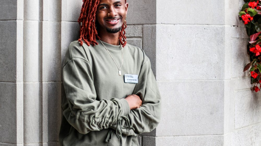 IU Student Government President Ky Freeman poses for a portrait Sept. 9, 2021, in front of the Sample Gates. Freeman was elected as student body president in May 2021 alongside vice president candidate Madeline Dederichs on the Elevate ticket.
