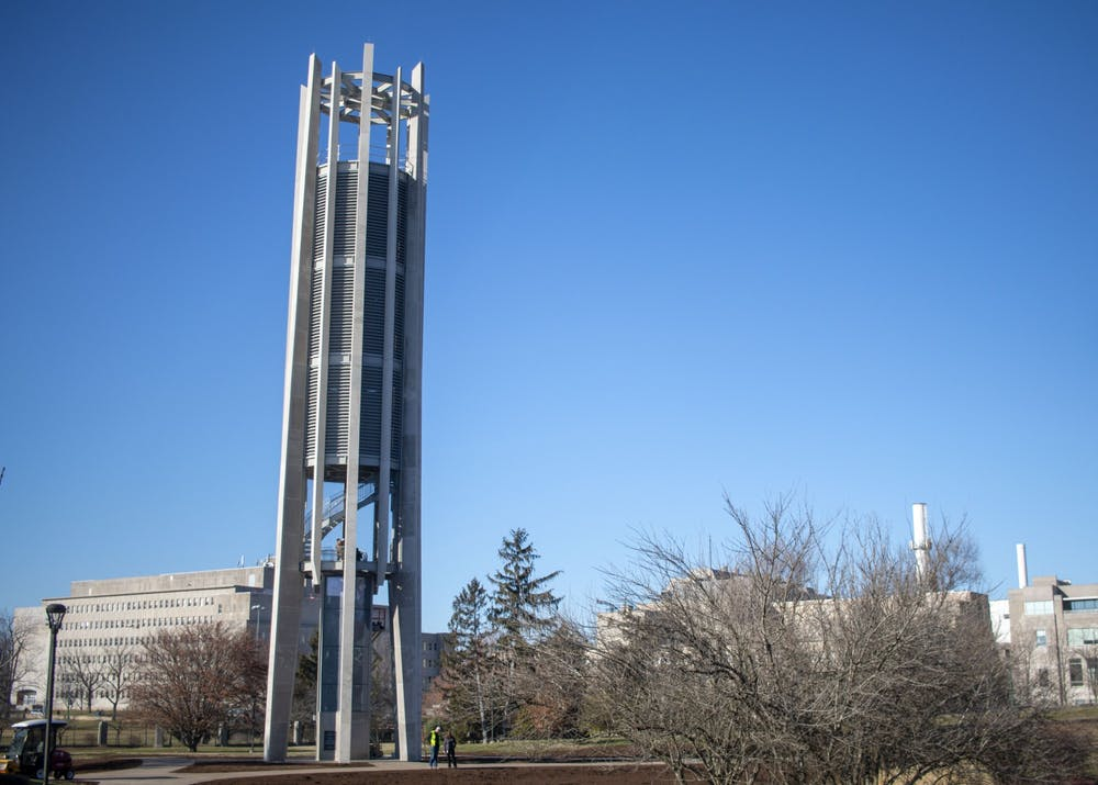 <p>The Arthur R. Metz Bicentennial Grand Carillon stands Jan. 16 in the IU Arboretum. The carillon was originally located near Evermann Apartments and was moved to a more central location on campus. </p>