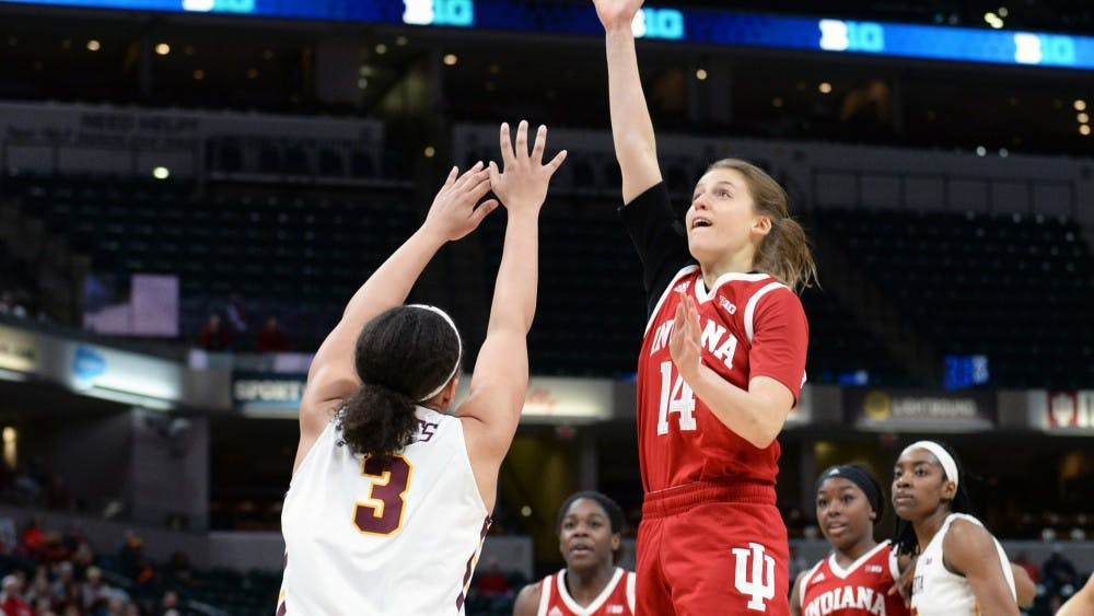Junior guard Ali Patberg shoots the ball during IU's second round Big Ten Tournament game against Minnesota on March 7 in Banker's Life Fieldhouse. Patberg was named to the preseason all-Big Ten team and the Nancy Lieberman preseason award watchlist.