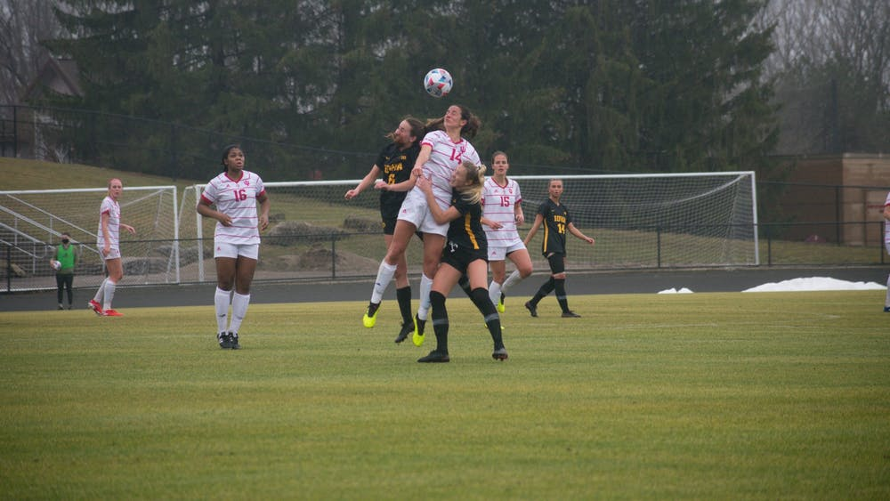 Senior defender Allison Jorden goes up for a header at Bill Armstrong Stadium on Sunday. The Hoosiers beat the Iowa Hawkeyes 2-0 Sunday.
