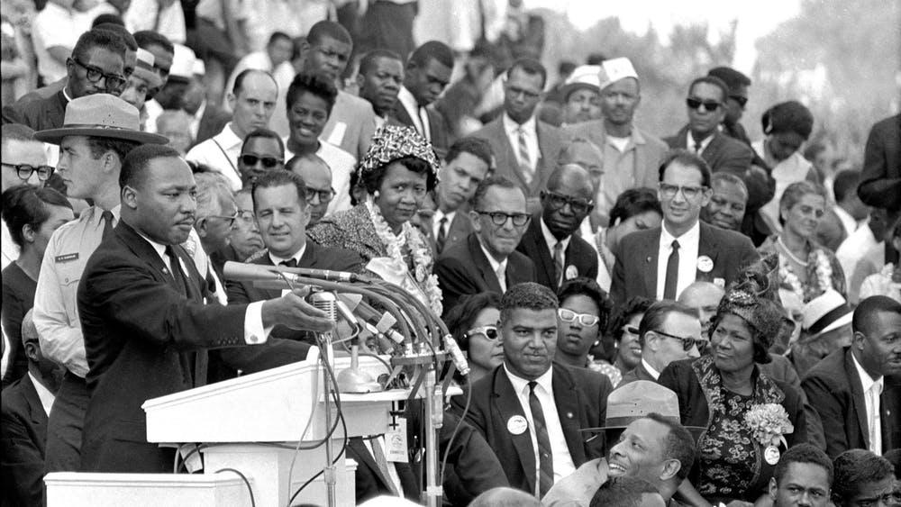 "Martin Luther King Jr. speaks to thousands during his ""I Have a Dream"" speech Aug. 28, 1963, in front of the Lincoln Memorial for the March on Washington for Jobs and Freedom in Washington."