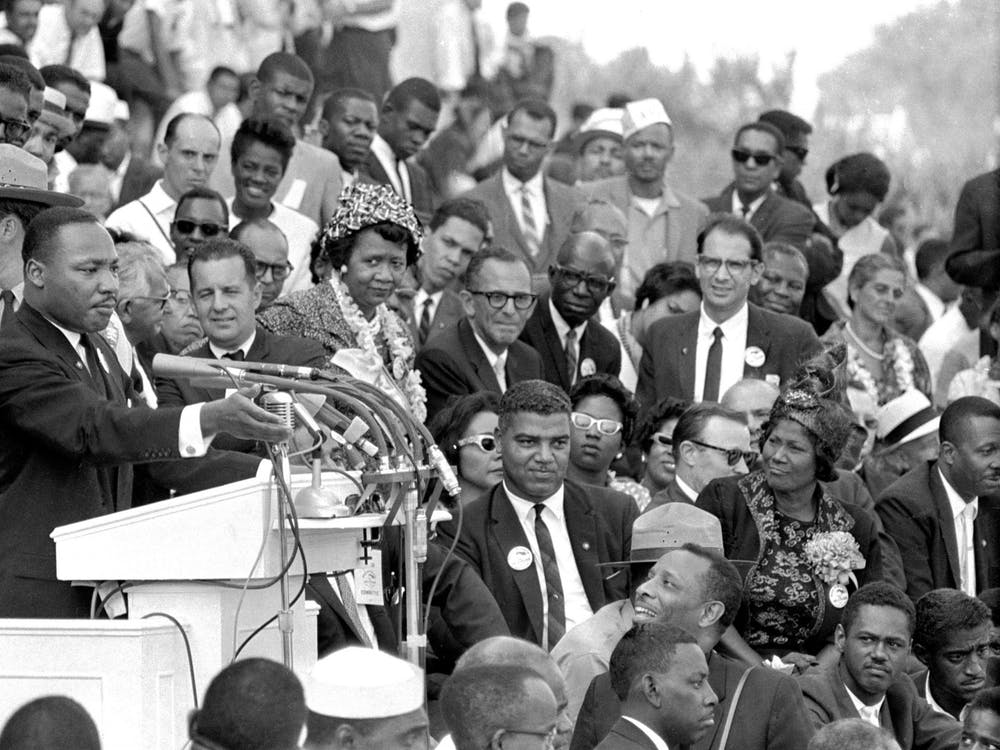 """Martin Luther King Jr. speaks to thousands during his """"I Have a Dream"""" speech Aug. 28, 1963, in front of the Lincoln Memorial for the March on Washington for Jobs and Freedom in Washington."""